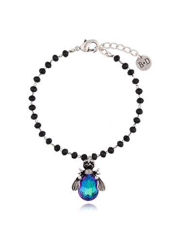 Bransoletka granatowy żuk z kryształkami BMI0041