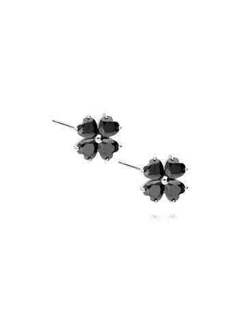 Kolczyki srebrne kwiatki z czarnymi kryształkami KGM0060