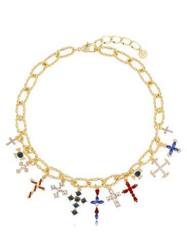 Naszyjnik złoty bogato zdobiony zawieszkami krzyżykami Crystal NRG0366