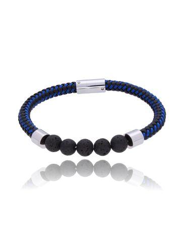 Bransoletka męska czarno niebieska z lawą wulkaniczną BMITC0161
