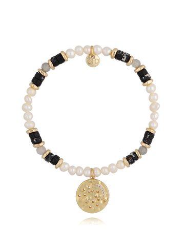 Bransoletka z  perłami czarna BSC0807