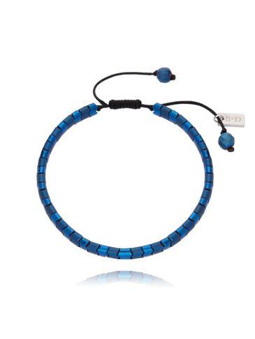 Bransoletka męska z niebieskiego hematytu BMITC0219