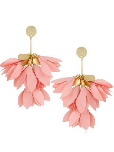 Kolczyki satynowe kwiaty jasno różowe KBL0510