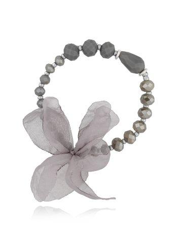 Bransoletka szara z kryształków - jedwabny kwiat BBL0216