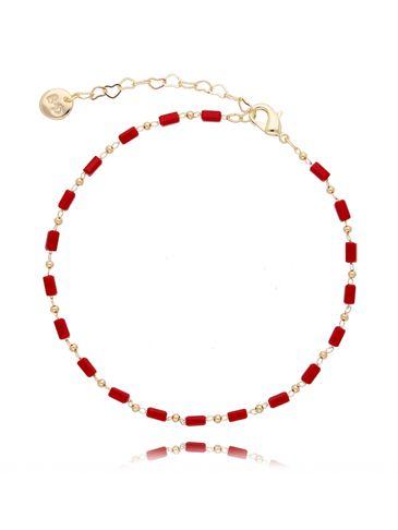 Bransoletka na kostkę z  czerwonych kryształków  BNOA0005