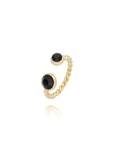 Pierścionek złoty z czarnymi kryształkami PRG0079 rozmiar 12