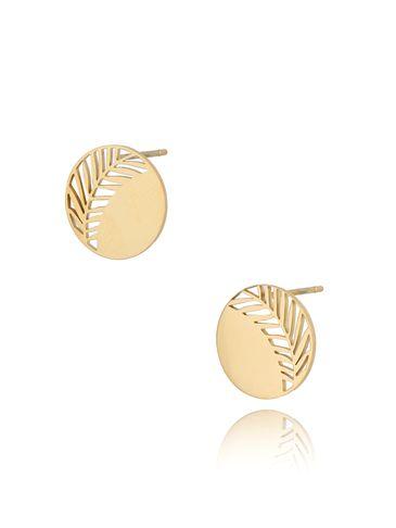 Kolczyki pozłacane ze stali szlachetnej Little Gold Leaf KSA0283