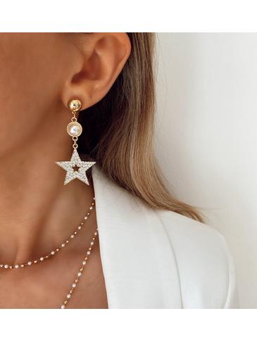Kolczyki złote gwiazdki z perłami i kryształkami KRG0533