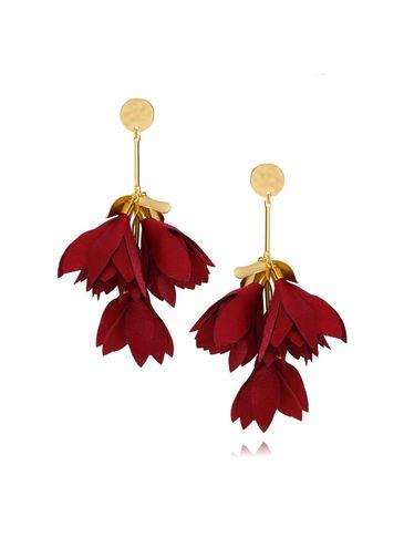 Kolczyki satynowe kwiaty bordowe KBL0432
