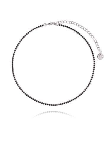 Naszyjnik srebrny z czarnymi cyrkoniami NMU0012