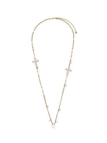 Naszyjnik z perłami i krzyżami antyczne złoto NRG0319