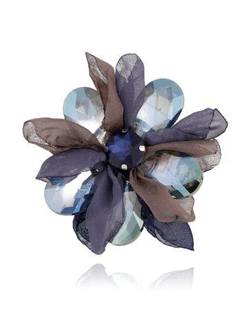 Broszka kwiat z kryształami szaro granatowa BRBL0012