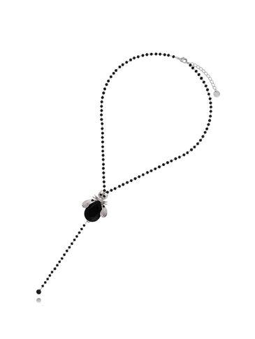 Naszyjnik czarny żuk z czarnym łańcuszkiem NMI0049