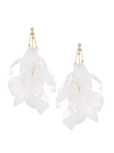 Kolczyki jedwabne kwiaty białe KBL0705