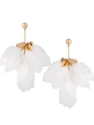 Kolczyki jedwabne kwiaty białe KBL0688