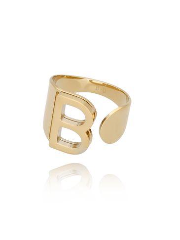 Pierścionek złoty ze stali szlachetnej z literką B PSA0045