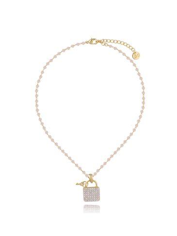 Naszyjnik złoty z kryształkami i kłódką NRG0278