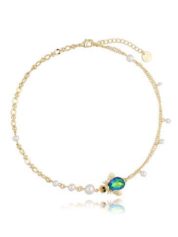 Naszyjnik żuk zielony z perłami NMI0103