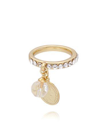 Pierścionek ze złotą monetką i kryształkami PRG0103 rozmiar 15