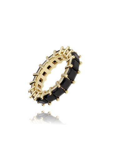 Pierścionek złoty z czarnymi kryształkami PRG0192 rozmiar 13