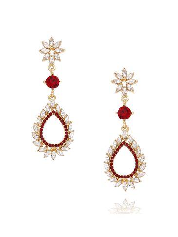 Kolczyki złote z transparentnymi i czerwonymi kryształkami KSS0808