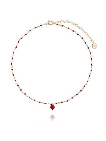 Naszyjnik z  z kryształkami i jadeitem bordowy NOA0045