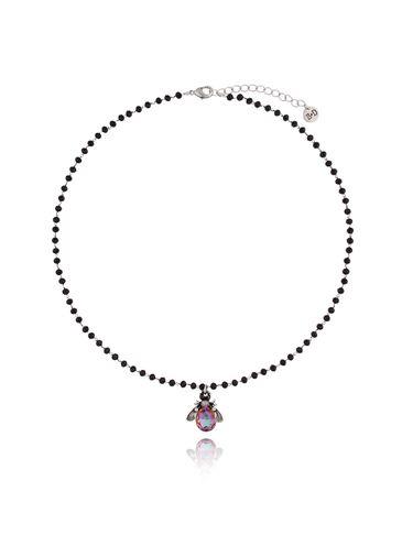 Naszyjnik fioletowy żuk z kryształkami NMI0060
