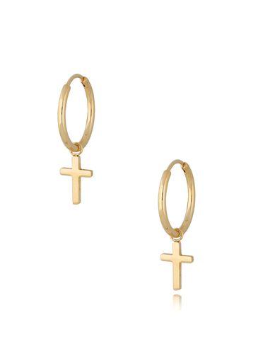 Kolczyki kółka pozłacane ze stali szlachetnej Gold Cross KSA0285