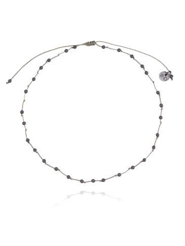 Bransoletka na nogę szaru sznurek ze szarym hematytem BNSC0033 rozmiar L, XL