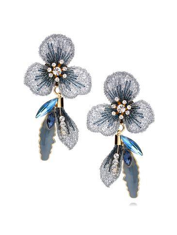 Kolczyki niebieskie kwiaty z kryształkami i emalią KLI0003