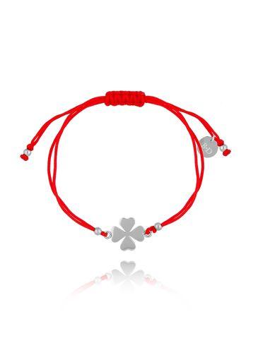 Bransoletka na czerwonym sznurku z koniczynką BGL0456