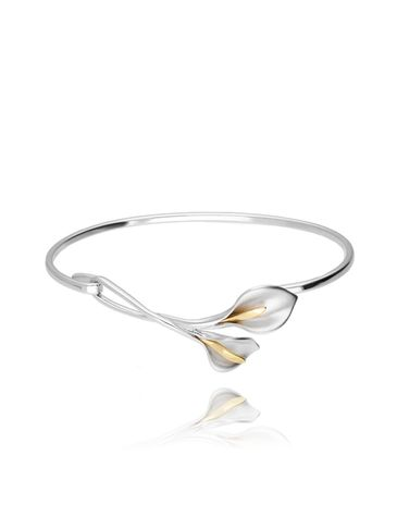 Bransoletka srebrna obręcz z liśćmi BLE0009