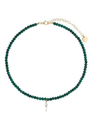Naszyjnik zielony z malachitem i zawieszką z cyrkonii NTW0189