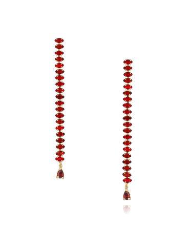 Kolczyki złote z kryształkami - długie czerwone KSS0818
