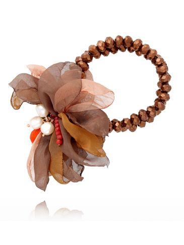 Bransoletka z kryształkami i  brązowym kwiatem  BBL0056