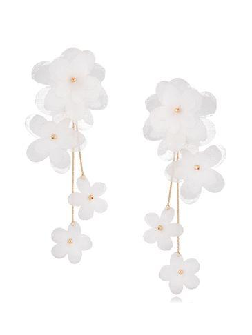 Kolczyki satynowe kwiaty  Blossom White Primerose KBL0871