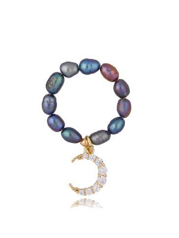 Pierścionek z ciemnymi perłami i księżycem Foggy Pearls & Moon PPE0039