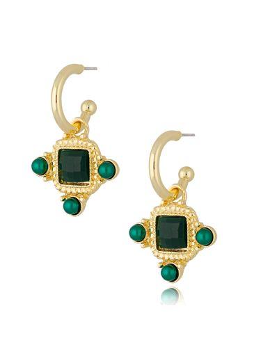 Kolczyki kryształowe wiszące zielone Renesans KTO0032