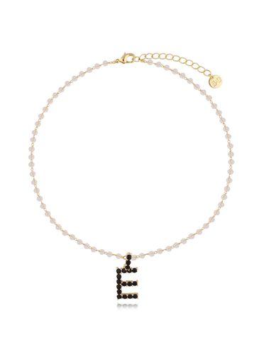 Naszyjnik kryształowy łańcuszek z literą E NRG0279