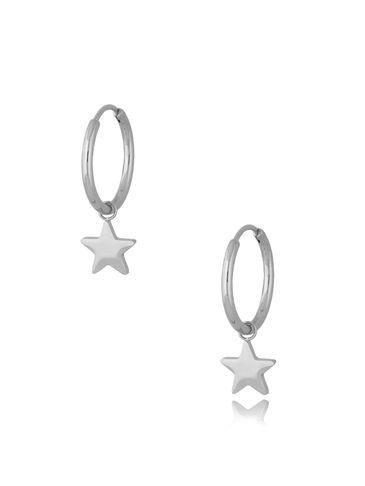 Kolczyki kółka posrebrzane ze stali szlachetnej Silver Stars KSA0288