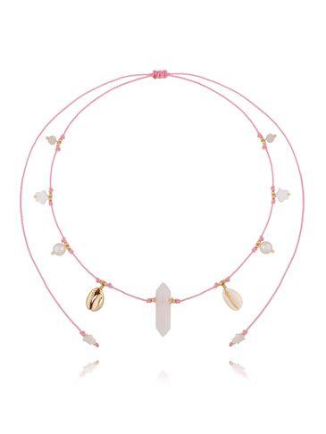 Naszyjnik z kryształem różowym i perłami NPA0194