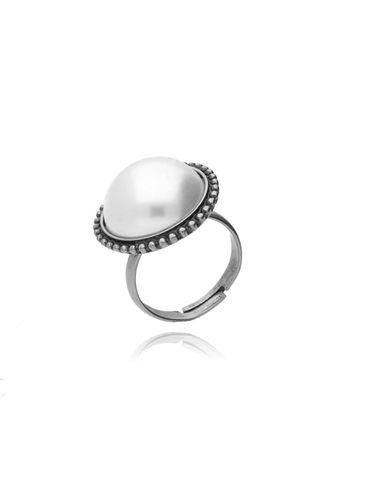 Pierścionek srebrny z perłą PTS0004