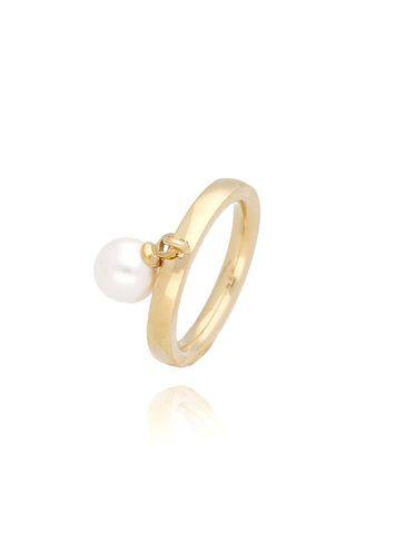 Pierścionek złoty z perłą ze stali szlachetnej PSA0059 Rozmiar 17