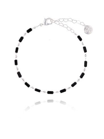 Bransoletka  srebrna z czarnymi kryształkami  BOA0007