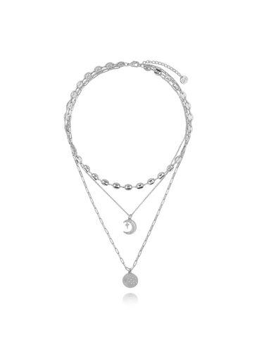 Naszyjnik srebrny potrójny z księżycem NRG0269