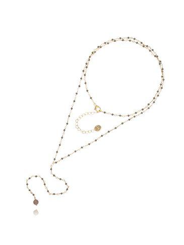 Naszyjnik różaniec z kryształkami i jadeitem jasno brązowy NOA0051