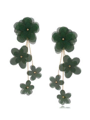 Kolczyki satynowe kwiaty  Blossom Green Primerose KBL0878