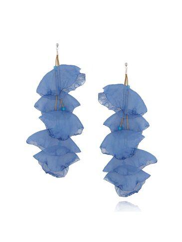 Kolczyki jedwabne kwiaty długie niebieskie KBL0425