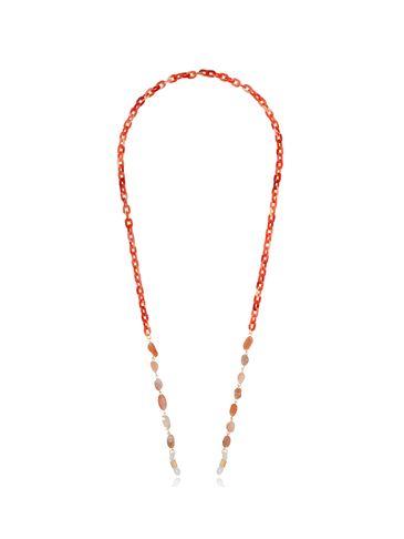 Łańcuszek do okularów z agatami pomarańczowy NPA0114