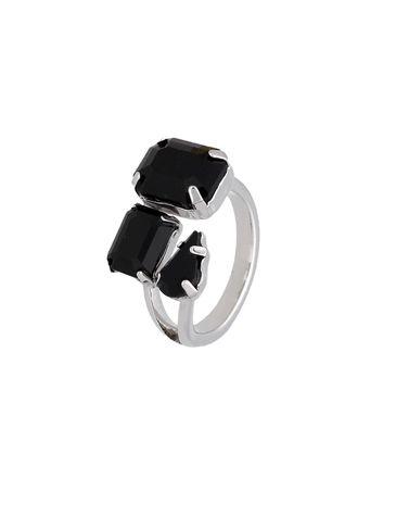 Pierścionek srebrny z czarnymi kryształami PRG0171 rozmiar12